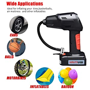 fansmart-Portable Air Compressor Pump,small cordless inflator,hand-held tyre pump with digital instrument LED llights and rechargeable battery, suitable for bicycle, air mattress, inflatable airbed, a (Color: Red & Black, Tamaño: Car tire inflator)
