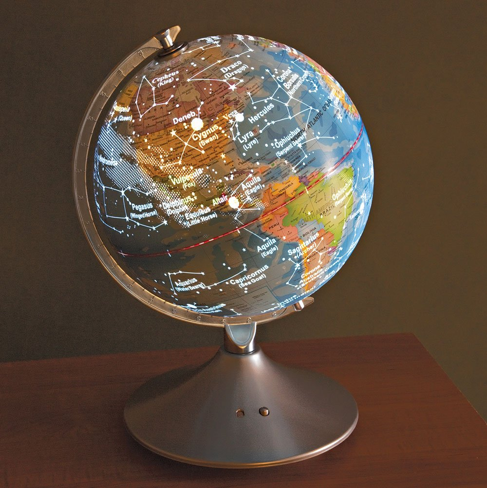 Globe with light up constellation map