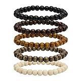 MILAKOO 5 Pcs Wooden Beaded Bracelet Bangle for Men and Women Elastic 8MM Beads (Color: A1: 5 Pcs 8mm)