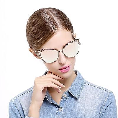 Sunny&Love Women Oversized Cat Eye Sunglasses Mirror Eyewear With Case 1
