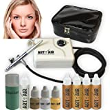 Art of Air MEDIUM Complexion Professional Airbrush Cosmetic Makeup System/4pc Foundation Set with Blush, Bronzer, Shimmer and Primer Makeup Airbrush Kit
