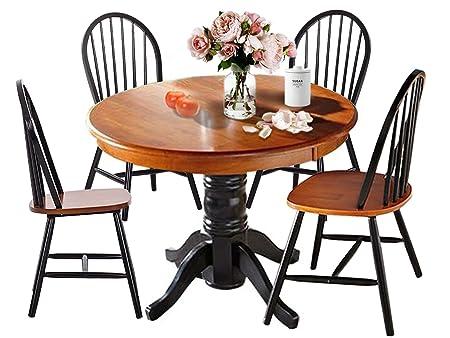Essgruppe MAGGIE mit 4 Stuhlen aus Massivholz in schwarz und hönig