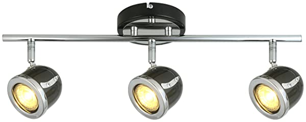 LED Retro Adjustable Eyeball Black &Chrome Ceiling Spotlight (Black &Chrome, 3 Lights Bar) (Color: Black &Chrome, Tamaño: 3 Lights Bar)