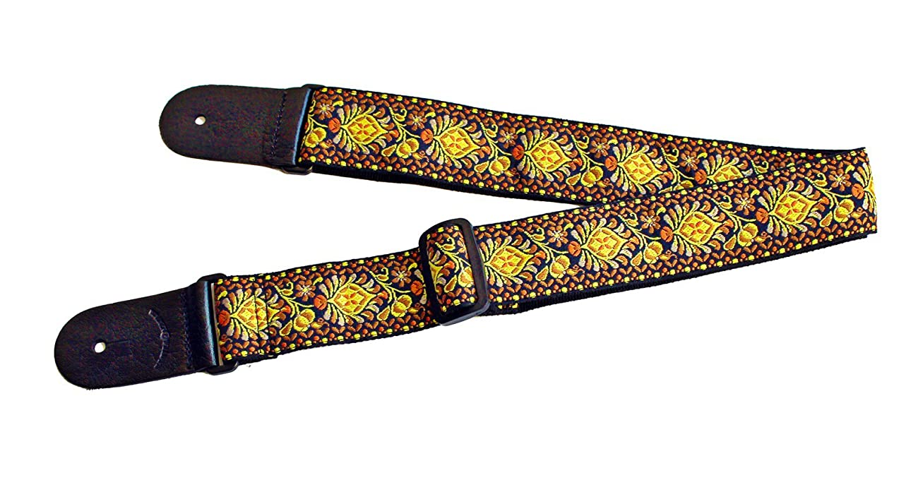 Walker & Williams H-03 Mandala Sun Woven 60's Style Hootenany Hippie Guitar Strap 2