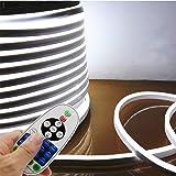LED NEON Light, IEKOVTM AC 110-120V Flexible LED Neon Strip Lights, 120 LEDs/M, Waterproof 2835 SMD LED Rope Light + Controller Power Cord for Home Decoration (16.4ft/5m, White) (Color: White, Tamaño: 5m/16.4ft)