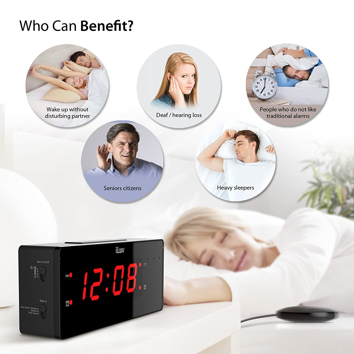 "iLuv – 1.4"" Jumbo LED Dual Alarm Clock with Super Vibrating Wired Bed Shaker, 120 dB Panic Sound, and Built-In 3 LED Alert Light"