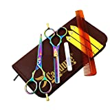 "Hairdressing Scissor Shears for Barber and Salon Styling Hair Cutting Thinning Set of 5.5"" Multi Color"