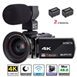 Camcorder,Video Camera 4K SOSUN 16X Digital Zoom Recorder WiFi Camera 48.0MP 3.0 inch Touch Screen Night Vision Camcorder with External Microphone and Wide Angle Lens,2 Batteries(614KMW) (Color: 614KMW)