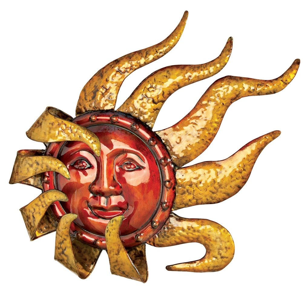 Smiling Metal Sun Wall Decor, Red