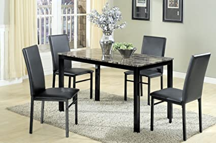 The Room Style 5 Pc. Faux Marble Top Metal Simple Dinette Dining Set, 1 Table with 4 Chairs (Black)
