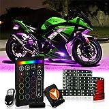SCREAMFOX 8Pcs Motorcycle LED Light Kit Strips Multi-Color Accent Glow Neon RGB Atmosphere Brake Warning Function Lights w/two Wireless Remote w/Switch for Harley Davidson Honda Kawasaki Suzuki BMW (Tamaño: BRAKE 8)