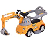 Costzon Ride On Excavator, Electric Digger Scooter, Pulling Cart for Kids w/ Remote Control (Yellow) (Color: Yellow, Tamaño: 41