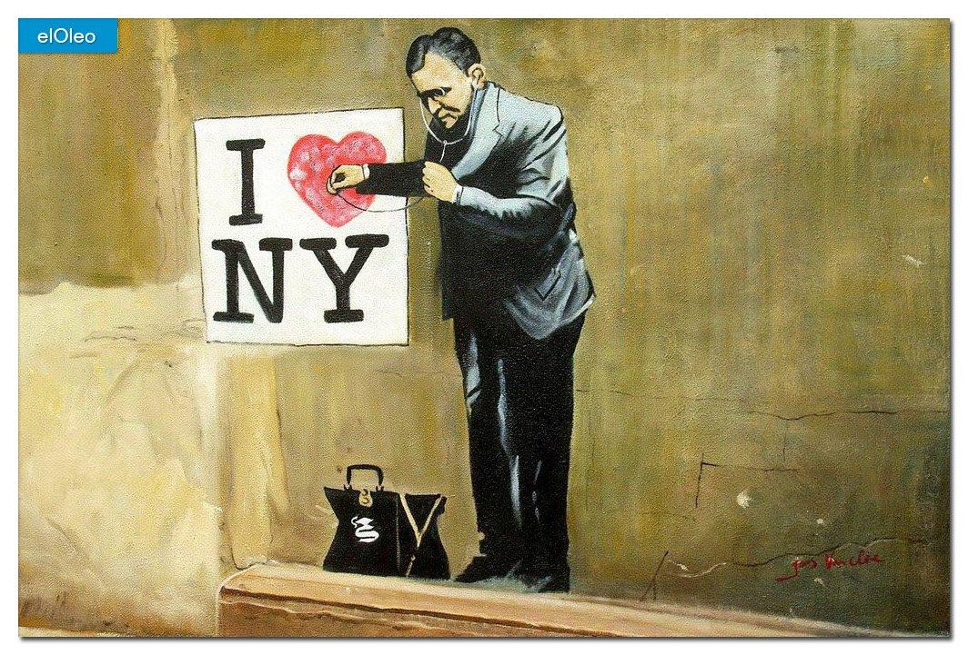 elOleo Homage to Banksy – I love New York 60×90 Gemälde auf Leinwand handgemalt 83307A kaufen