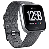 QIBOX Bands Compatible Fitbit Versa, Woven Fabric Wrist Strap Watch Special Edition Replacement Bands Classic Square Stainless Steel Buckle Compatible Fitbit Versa Smart Watch (Color: Special edition charcoal, Tamaño: Fitbit Versa woven bands special edition charcoal)