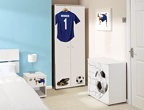 Blue Football Design Childrens/Kids White Bedroom Furniture Sets