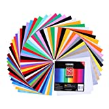 VISEMAN Adhesive Vinyl Sheets - 40 Assorted Colors(Glossy,Matte,Brushed and Metallic) Self Vinyl Craft Paper with 2 Clear Transfer Tap for Cricut and Other Cutters (50 Pack) (Tamaño: 50 pack vinyl sheets)
