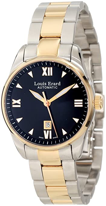 Louis Erard Women's 20100AB22.BMA20 Heritage Automatic Black Dial Steel and Rose Gold PVD Watch
