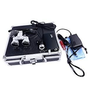 Zgood Portable Surgical Medical Binocular Loupes 2.5×420mm Optical Glasses with 3W LED Headlight Lamp + Aluminum Box (Black) (Color: Black)
