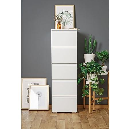 Schubladen Kommode Tower Anrichte PURE 6 mit 5 Schubladen in Weiß - 40x131x45cm - Modell 2017 Schuhschrank Mehrzweckschrank