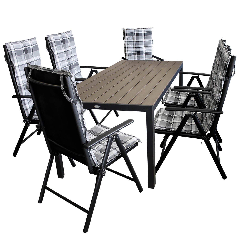 13tlg Gartenmöbel Set Gartengarnitur Gartentisch Alu Polywood 205x90cm + 6x Hochlehner mit verstellbarer Rückenlehne 2×2 Textilenbespannung + 6x Polsterauflagen – Sitzgarnitur Sitzgruppe online kaufen