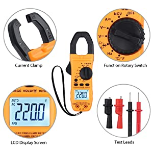 Proster Digital Clamp Meter Auto-Ranging Clamp TRMS 6000 Counts with NCV AC/DC Voltage Current Continuity Capacitance Resistance Frequency Diode Temperature Hz Non-contact AC voltage dete