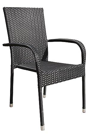 6x de alta calidad silla de jardín silla apilable Negro Bistro silla balcón ratán silla apilable silla