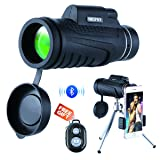 NICPAY Monocular Telescopes, 12X50 High Powered Prism Scope with Quick phone Mount Adapter and Tripod,Waterproof Fogproof Optics FMC BAK4 Prisms, Low Night Vision Focus for Outdoor Like Bird Watching (Color: 10x)