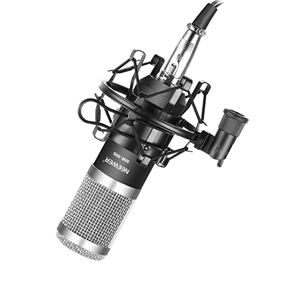 Neewer NW-800 Pro Cardioid Studio Condenser Microphone Set with Shock Mount, Ball-type Anti-wind Foam Cap, 3.5mm to XLR Audio Cable for Recording Broadcasting YouTube Live Periscope(Black/Silver) (Color: Silver+Black)