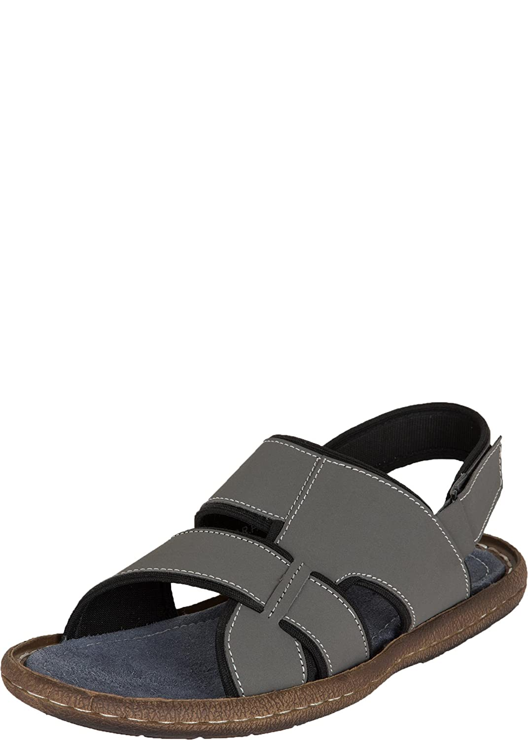 Zovi Men Grey Sling Back Casual Sandals