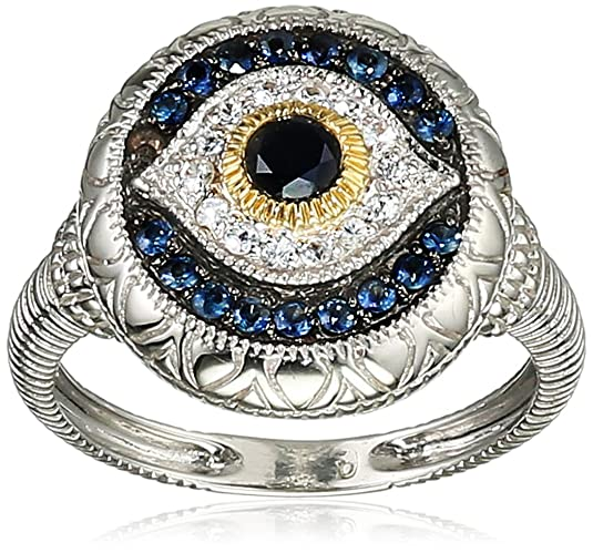 Judith Ripka Steriling Silver Evil Eye Ring with Black,White and Blue Sapphires
