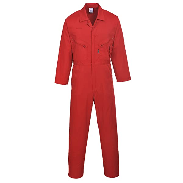 Portwest Mens Liverpool Zip Up Protective Workwear Coverall (Medium x Regular) (Red) (Color: Red, Tamaño: Medium)