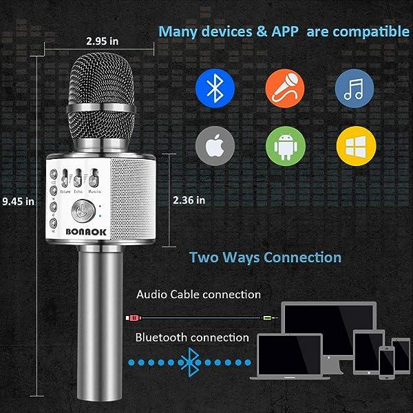MICRÓFONO INALÁMBRICO DE KARAOKE BLUETOOTH BONAOK, 3-EN-1, portátil de karaoke portátil Micrófono Altavoz Máquina Fiesta de cumpleaños de Navidad para Android/iPhone/PC o todos los teléfonos inteligentes (Q37 Space Grey)