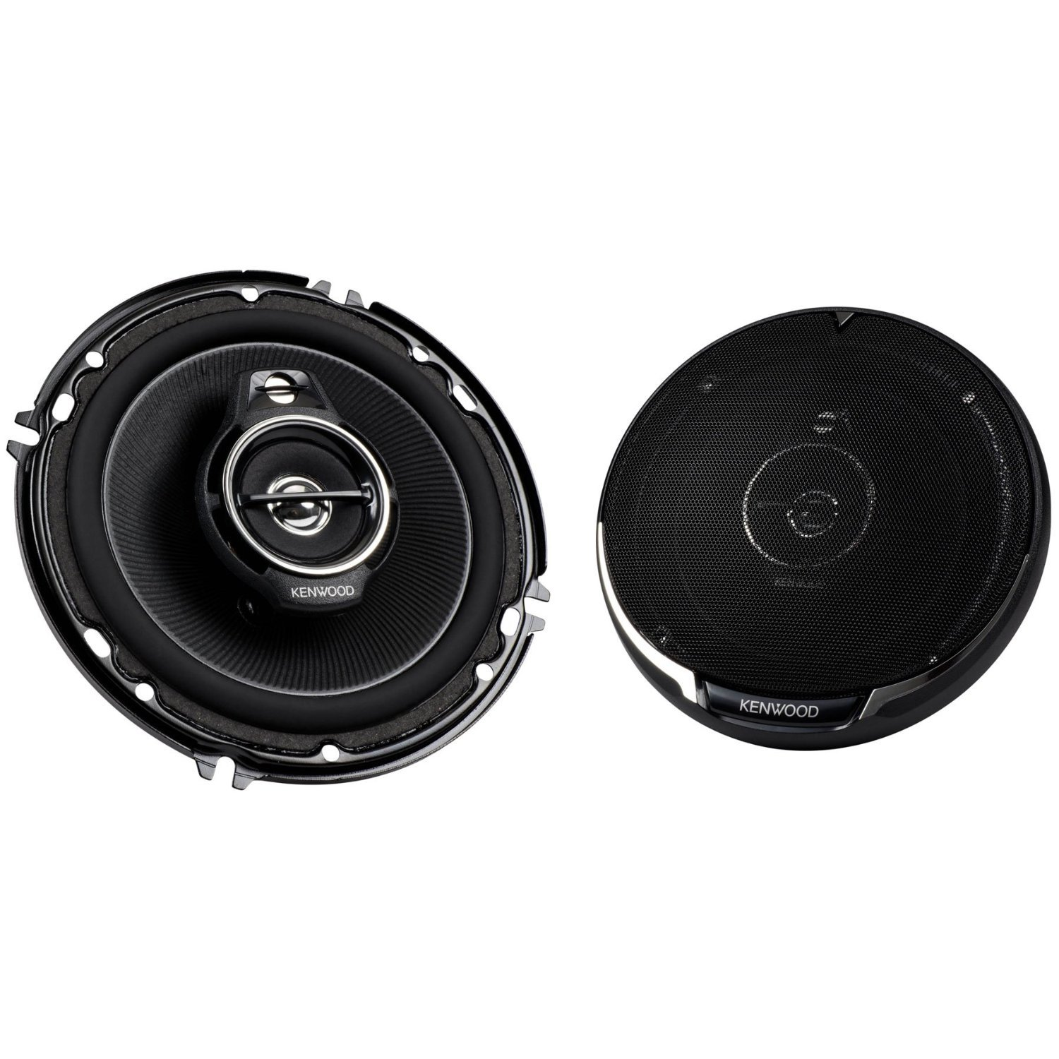 "Kenwood KFC-1695PS 150W 6.5"" 3-Way Performance Series Flush Mount Coaxial Speakers with Paper Cone Tweeters, Set of 2"