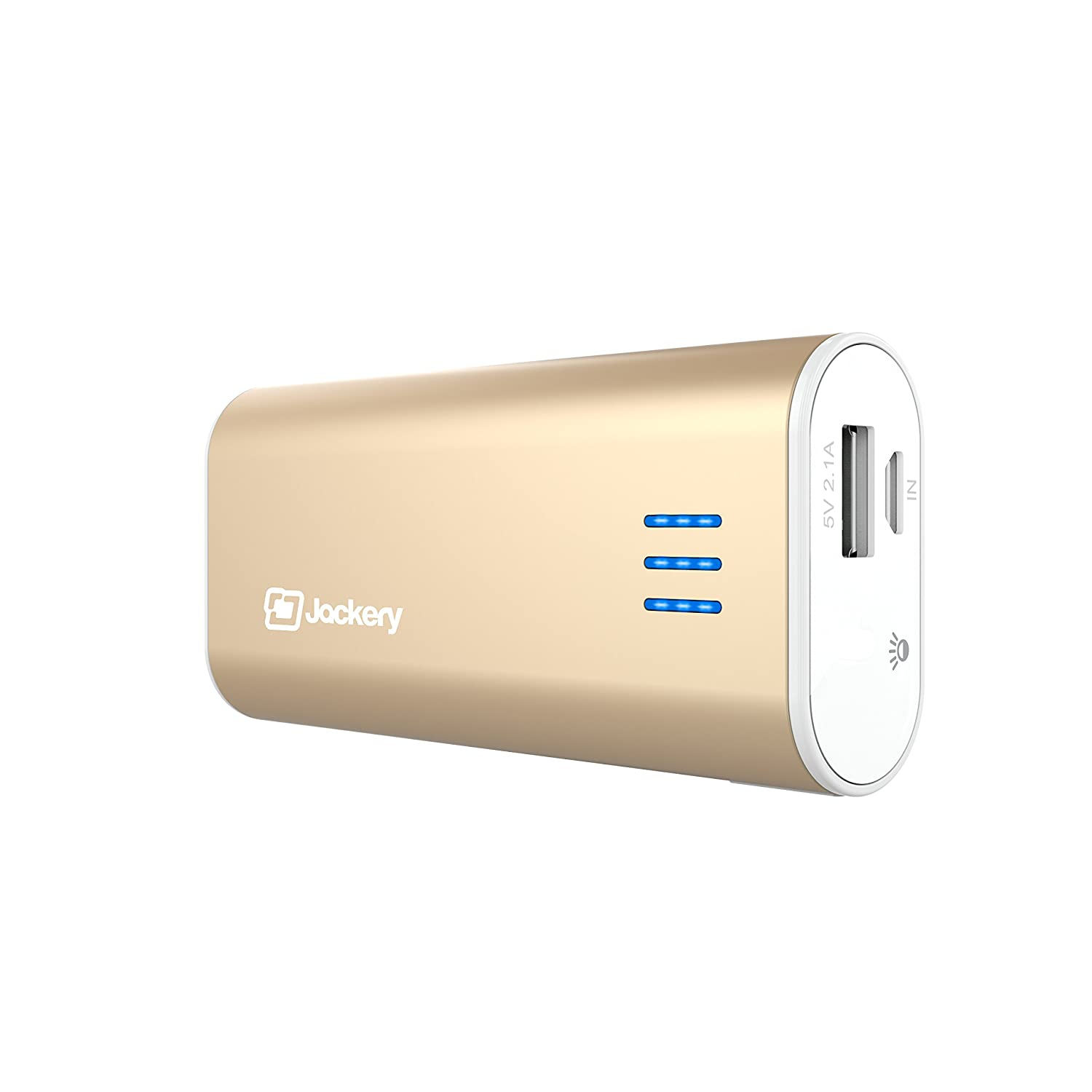 Jackery Bar External Battery Charger - Portable Charger and Power Bank for iPhone 6s, 6s Plus, 6 Plus, 5, iPad Air, iPad Pro, Samsung Galaxy S6, S5 & Other Smart Devices - 6,000 mAh (Gold)