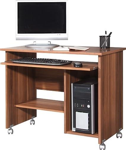 Dreams4Home Schreibtisch II 'Halmstad' - Burotisch, Tisch, Computertisch, Arbeitstisch,Buro, Tastaturauszug, B/H/T: 90 x 72 x 48, Walnuss, Nachbildung, made in Germany, Druckerfach, auf Laufrollen