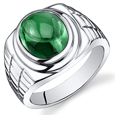 Revoni Mens 6.50 Carats Oval Cabochon Emerald Ring In Sterling Silver With Rhodium Finish