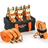 Badass Moto Heavy Duty Ratchet Straps Tie Downs 4-Pack. 4400 Break Str 1.5 in X 15 Feet - Motorcycle Tie Down Straps - Truck Cargo - ATV Trailer - Wide Padded Grips, Ratchet Strap Keepers, Duffle Bag (Color: Safety Orange, Tamaño: 4400 Lb Cap. J Hook - 15 Ft - 4 Pack)