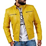 Laverapelle Men's Yellow Genuine Lambskin Leather Jacket - 1501344-2XL (Color: 16a- Yellow - With Polyster Lining, Tamaño: XX-Large)