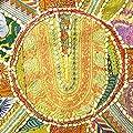 EYES OF INDIA - 55.9cm GELB-RUNDE BLUMENMUSTER OTTOMANE HOCKER BESTICKT PATCHWORK Ethnische Dekoration von Eyes of India - Gartenmöbel von Du und Dein Garten