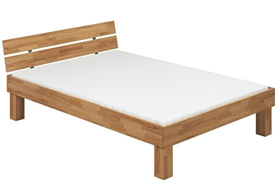 Letto 140x200 in Faggio Eco laccato ANCHE per ANZIANI con assi di legno e materasso 60.81-14 M