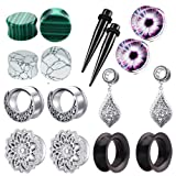 TIANCI FBYJS 8 Pairs Dangle Ear Tunnels Earring Gauges Silicone Stone Piercing Plugs 2g-5/8'' (12mm=1/2'')