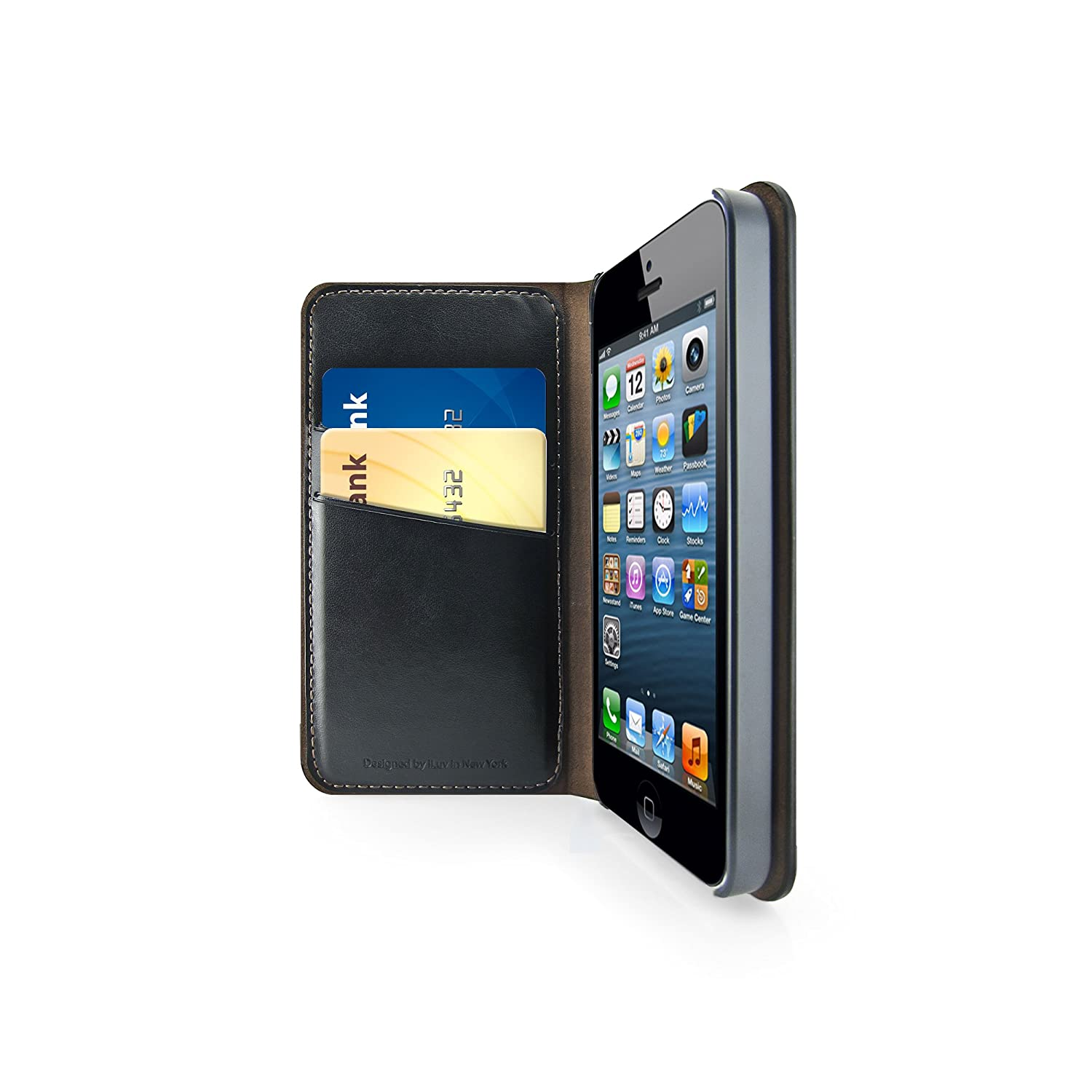 iluv iphone 5 5s premium 100 genuine real leather wallet. Black Bedroom Furniture Sets. Home Design Ideas