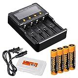 Bundle: Fenix ARE-C2 Plus (ARE-C2+) Four Channel Digital Multi Charger with 4x 3500mAh 18650 Batteries Pack & Lumentac Battery Organizer for Fenix PD35 FD30 FD41 TK15 TK35 TK75 LD75C (Color: Black)