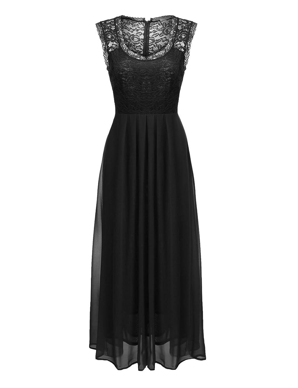 ANGVNS Women's Casual Deep- V Neck Sleeveless Vintage Maxi Dress 3