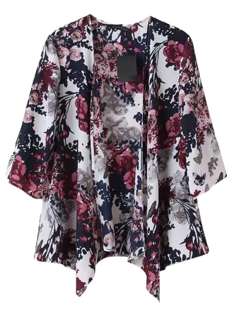 Choies Women's Chiffon Floral Kimono Loose Kimono Cardigan Blouse 2