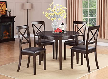 East West Furniture BOST3-CAP-LC 3-Piece Kitchen Table Set, Small, Cappuccino Finish
