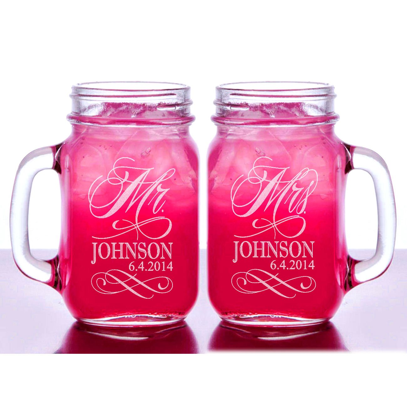 Custom Etched Personalized Mason Mugs, Set of 2, Clear