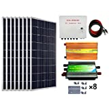ECO-WORTHY 800 Watts Solar Panel Kit: 8pcs 100W Poly Solar Panel + 3KW 24V-110V Off Grid Inverter + Combiner Box + 15ft Solar Cable + 45A PWM Charge Controller + Z Mounting Brackets (Color: w/ Combiner Box&Inverter, Tamaño: 800W)