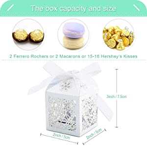 COTOPHER 60 Pack Love Heart Laser Cut Candy Boxes Wedding Party Favor Boxes Small Gift Boxes for Wedding Bridal Shower Baby Shower Birthday Party (60, White) (Color: White)