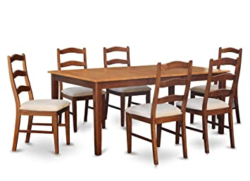 East West Furniture HENL7-BRN-C 7-Piece Dining Table Set
